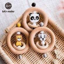 Lets Make детские игрушки, Погремушки для новорожденных, колокольчик, деревянное кольцо, 0 12 месяцев, бук, 1 шт., животное, панда, дерево, прорезыватель, развивающие игрушки