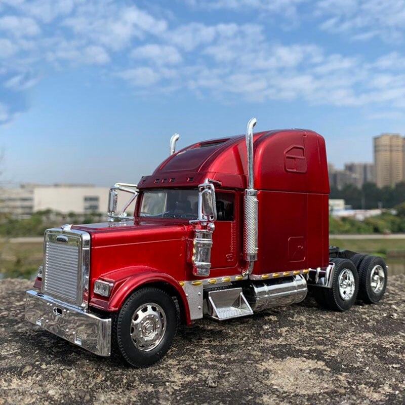 Akcesoria prezenty montaż USA ciągnik siodłowy 1:32 odlewane modele ze stopu metalu pojazd amerykański ciężki przyczepa przyczepa głowa Model zabawki