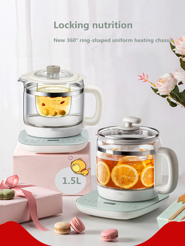 New health pot full automatic thickened glass multi-function mini electric heating kettle flower teapot black tea tea maker electric teapot with infuser filter health electric kettle puer oolong tea teapot 800ml tea pot multifunction glass water kettle
