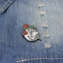 Cartoon anime rose brooch enamel pin mini badge bag clothes jewelry gift to friends creative personality gestures alloy brooch enamel pin mini badge bag clothes jewelry gifts to friends fxm