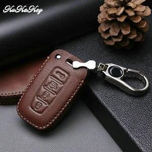 Image 5 - Etui clés de voiture en cuir pour Hyundai Long mouvement IX35 Sonata 8 pour Kia Chi Ran K2 Furui Di k5 4 boutons coque de clé à distance