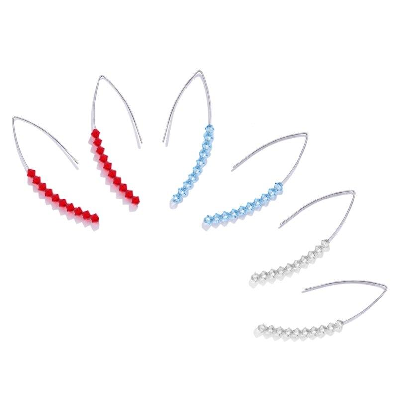 Fashion Jewelry Women Drop Earrings Cute Big Earrings Silver Color Earrings For Ladies Shining Blue Crystal Luxury Earrings