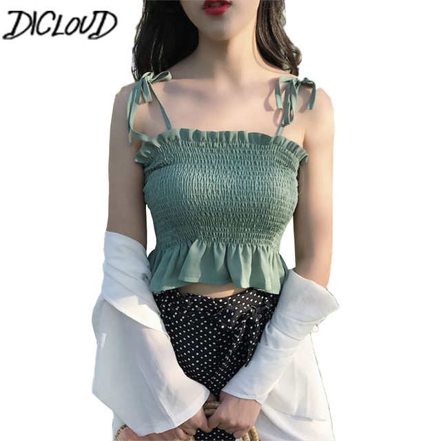DICLOUD Solid Tie Bow Camis Streetwear Tube Top Women Fashion Ruched Pleated Crop Top Sexy Bustier Tees Feamle TankTops Camisole 1