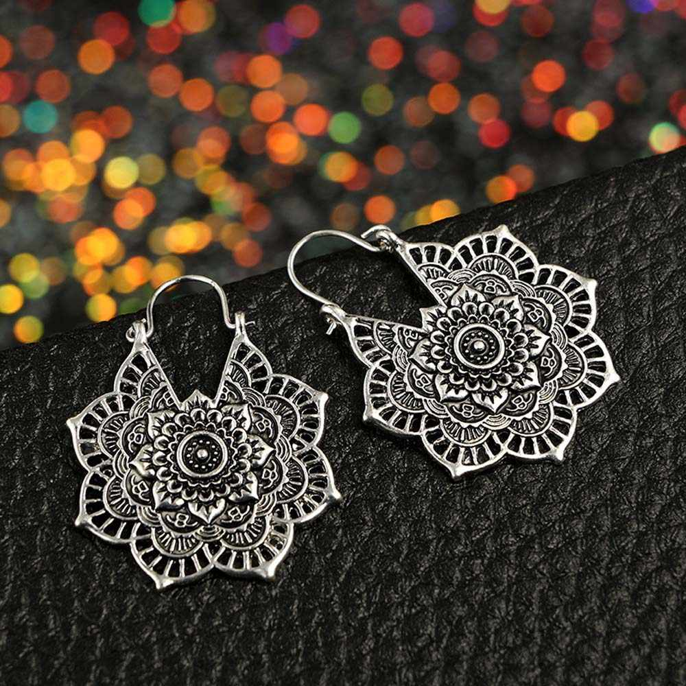 Vintage Mandala Flower Drop Dangle Earring for Women Girl Tribal Hollow Floral Pendant Earrings Pendientes