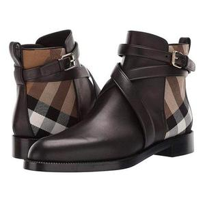 2020 Women Pu Leather Boots Buckle Design Plaid Ankle High Fashion Boots Casual Top Quality Low Heel Assorted Male Boots TV866W
