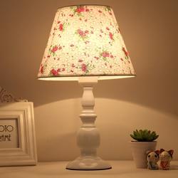 Lampka nocna lampa stołowa nowoczesne proste sypialnia klosz pościel lampa stołowa ochrona oczu kryty lampa stołowa w Lampy na biurko od Lampy i oświetlenie na