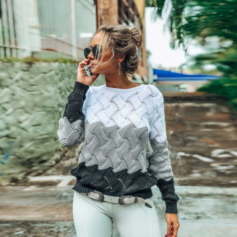BEFORW Autumn Winter Contrast Color Women Sweater Casual Long Sleeve Pullovers Women Crewneck  Knitted Tops Women Jumper Soft