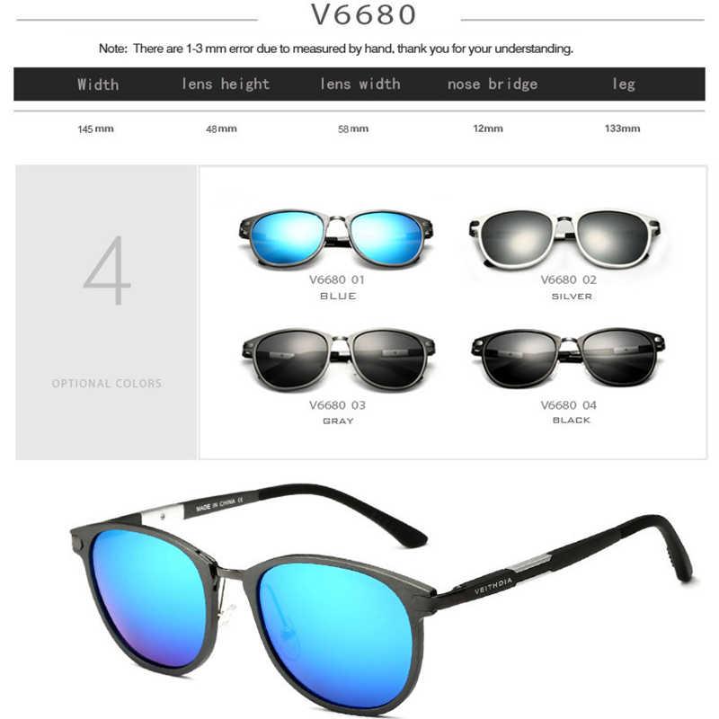 VEITHDIA อลูมิเนียมแมกนีเซียมแว่นตากันแดดเลนส์โพลาไรซ์แว่นตา Vintage แว่นตากันแดด Oculos de sol 6680