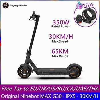 Patinete eléctrico inteligente Original Ninebot MAX G30, patinete plegable, patinete de freno doble con aplicación, Scooter de dos ruedas