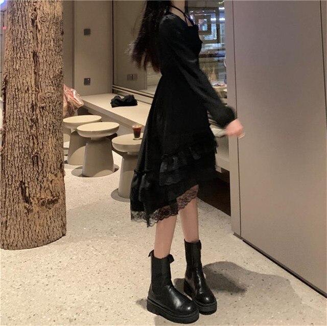 New Gothic Women Black Fairy Party Dress Cross Square Collar Lolita Princess Irregular Dress Cute Kawaii Lace Ruffles Chic Dress 2