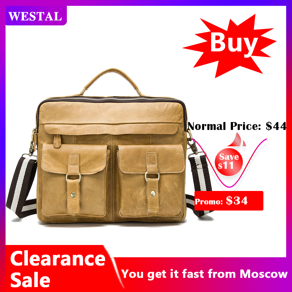 WESTAL Business Men's Briefcase Leather Laptop Bag 14 Office Bags For Men Men's Genuine Leather Bags For Document Briefcases 800