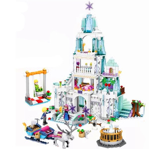 Elsa Anna Magical Ice Castle Model Building Blocks Cinderella Princesses Castle Compatible girl Friends blocks(China)