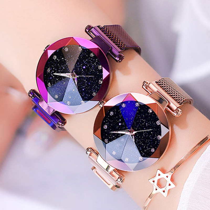 Reloj femenino reloj cielo estrellado relojes de mujer diamantes de lujo relojes magnéticos para mujer reloj de pulsera reloj de cuarzo mujer Relojes de pulsera para mujer, marca de lujo, reloj de pulsera de acero plateado para mujer, reloj de pulsera de diamantes de imitación para mujer, reloj femenino, reloj femenino