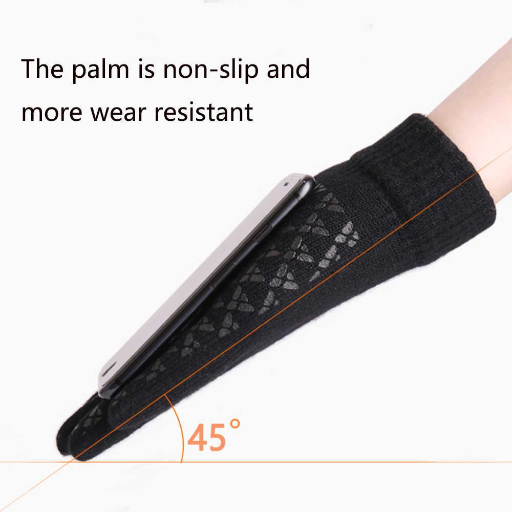 หน้าจอสัมผัสใหม่ถักถุงมือฤดูหนาวฤดูใบไม้ร่วงผู้ชายผู้หญิง Thicken Wool Mitten กลางแจ้ง Anti-SLIP อุ่นคู่ถุงมือสูงคุณภาพ