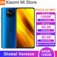 Em estoque versão global xiaomi poco x3 nfc smartphone 64gb/128gb snapdragon 732g octa núcleo 64mp 5160mah bateria 33w carga rápida
