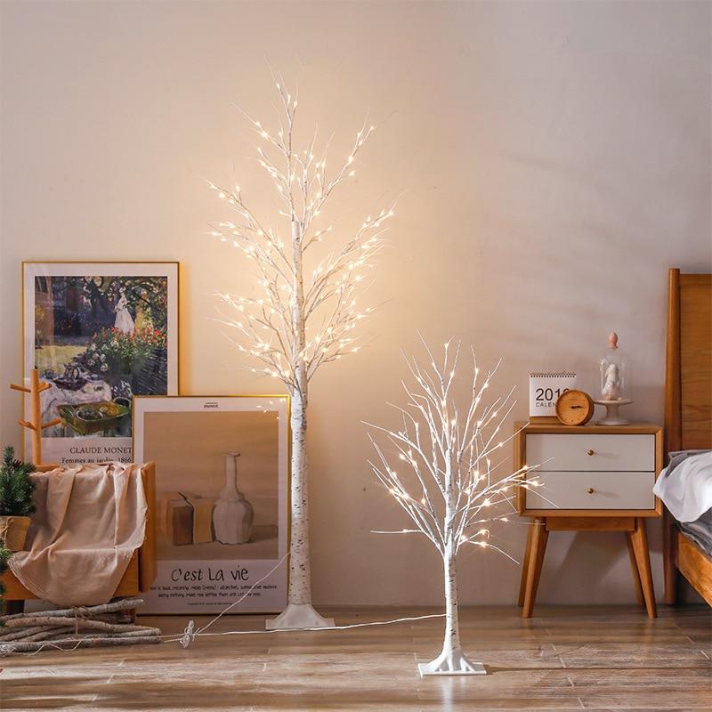 Modern Minimalist LED Tree Light Silver Birch Lamp Copper Rose Small Night Lamp Home Decoration Decorative Cabinet Light