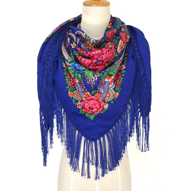 Blanket Scarf Russian Square Shawl Retro Printing for Woman Russian Ethnic Style Floral Handkerchief Foulard Femme Babushka Wrap