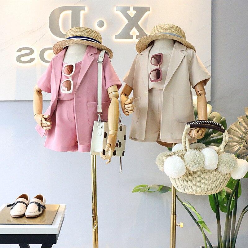 Children 2020 Summer Clothes Set Jacket+Tshirt+Shorts 3pieces Girls Outfits Kids Girls Clothing Roupa Menina