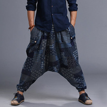 Men Yoga Pant Linen Nepal Harem Loose Wide Leg Crotch Pant Bloomers Casual Baggy Jogger Running Fitness Workout Pant Sweatpants m 5xl men yoga pants nepal linen harem loose wide leg cropped pant bloomers male running jogging casual workout pants sweatpants