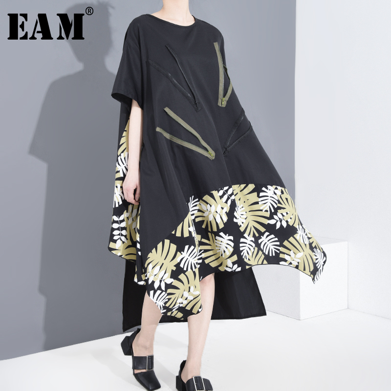 [EAM] Women Black Pattern Printed Big Size Dress New Round Neck Half Sleeve Loose Fit Fashion Tide Spring Summer 2020 1T85501