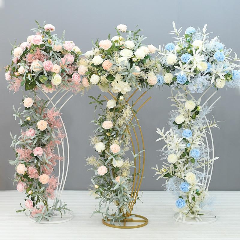 Wedding 4 Floor Vases Pot Decor Home Lead Geometric Table Vase Metal Stand  Event Centerpiece Column PCS Rack Flower For Road