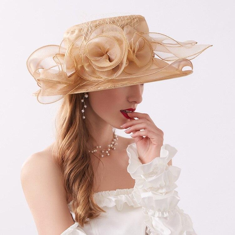 Mingli Tengda Wedding Hat Eugen Yarn Navy Flower Bride Hat Foldable Eaves Sandy Beach Purple Summer Hat Gauze Formal Pink Hat