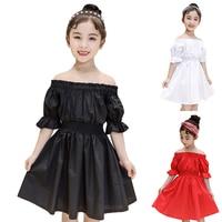 Shoulderless dress Kids Girls Dresses Summer Children Birthday Clothes for Girl Princess White Dress Toddler Cotton Clothing