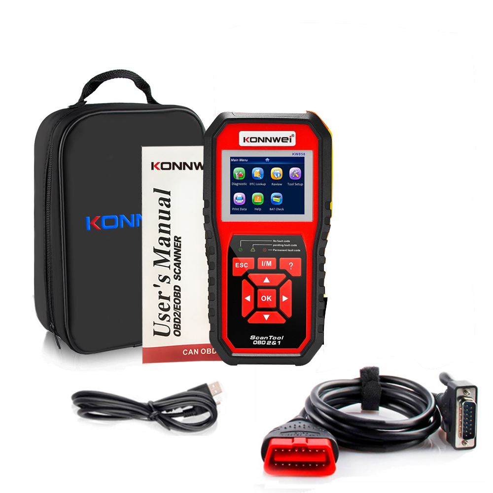 KONNWEI KW850 OBD2 Auto Diagnostic Scanner Universal OBD Car Diagnostic Tool ODB2 Check Engine Automotive Car Code Reader red