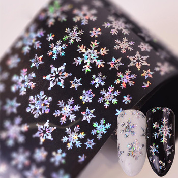 Christmas Nail Stickers Decal Snowflakes Manicure Nail Art DIY Transfer Nail Art Decor Slider Watermark Foil Tip Wholesale image