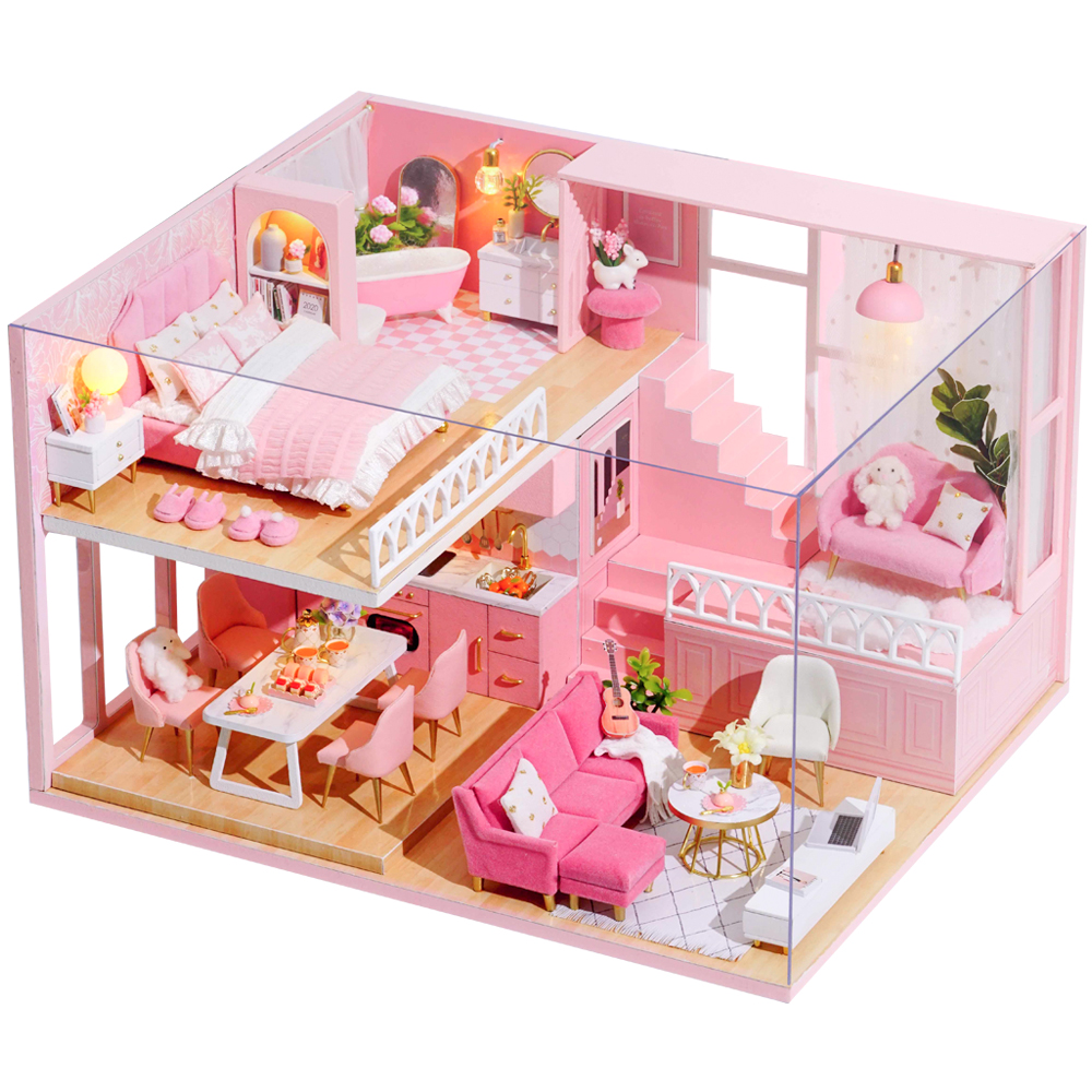 Cutebee DIY DollHouse Wooden Doll Houses Miniature Dollhouse Furniture Kit Toys For Children New Year Christmas Gift  Casa L30