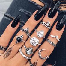 Vintage Black Hollow Crown Rhinestone Set Drop Moon Geometric Leaf Ring 10-Piece Setfor Female Gifts Whosale
