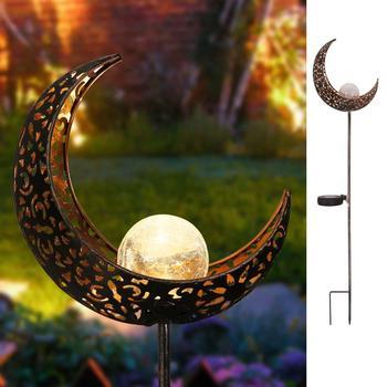 Solar Garten Lichter Kristall Crackle Glaskugel Mond Stake Licht Wasserdichte LED Dekorative Leuchten für Garten Rasen Terrasse