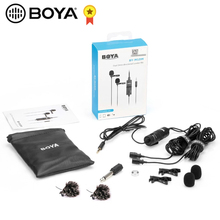 BOYA BY M1DM BY M1 Mikrofon mit Kabel Dual Kopf Lavalier Revers Clip on für Canon Nikon DSLR Camcorder Smart telefon Aufnahme