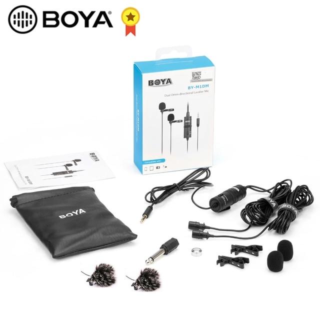 Boya BY M1DM BY M1 microfone com cabo de dupla cabeça lapela lapela clip on para canon nikon dslr filmadoras gravação de telefone inteligente