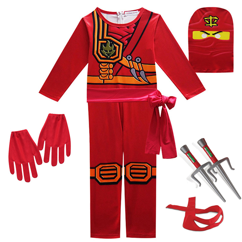 Ninjago Cosplay Costumes Boys and Girls Jumpsuit weapon Set cosplay anime children's fantasy Halloween Christmas Party clothes 4