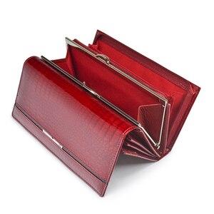 Image 2 - Echtes Leder Frauen Geldbörsen Weibliche Brieftasche Alligator Luxus Marke Geldbörse Design Kupplung Tasche Karte Halter Zipper Damen Geldbörsen