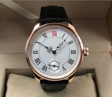 44mm no logo White dial 17 jewels hand winding Asian 6498  movement men watch Plating Rose gold case Mechanical watches 3 4