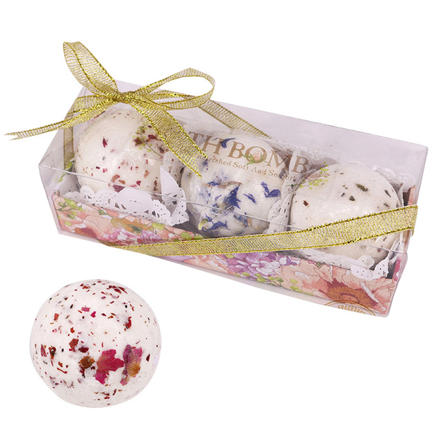 New 3pcs Bath Salt Ball Flower Bubble Whitening Moisturize SPA Relaxation Gift SCI88 1