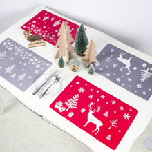 The New Creative Christmas Decoration PVC Printed Placemat Coaster Kitchenware  Ornaments 2020 Year Explosion