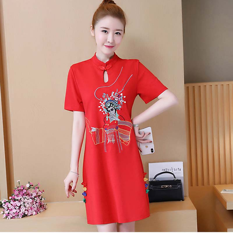 Solid Vintage Chinese Red Qipao New Printed Women Sexy Split Cheongsam Female Improved Handmade Button Mandarin Collar Dress