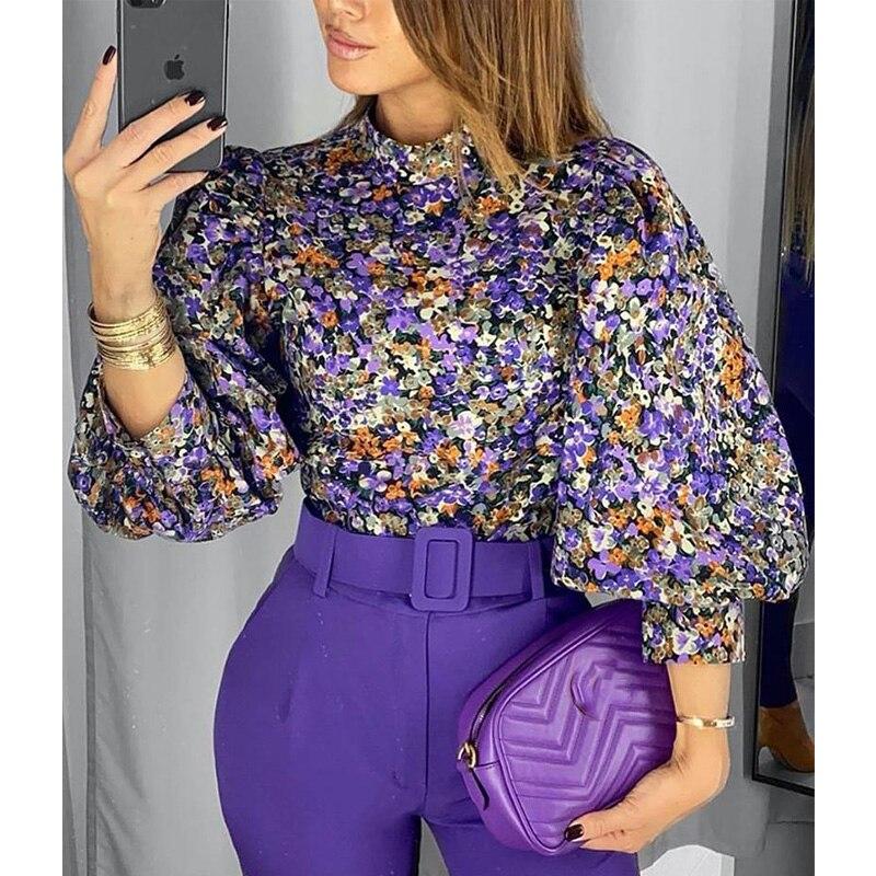 Closeout Dealsí2020 New Fashion Vintage Women Blouse Floral Lantern Sleeve Top