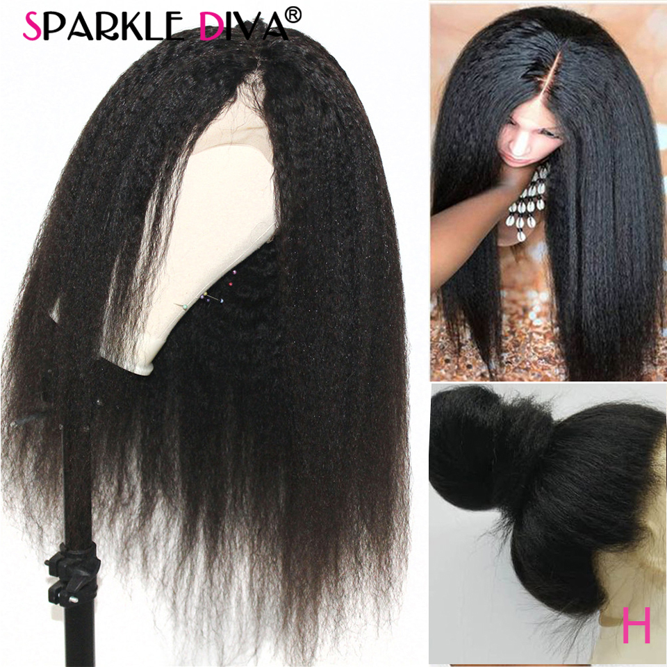150% Density Kinky Straight 360 Lace Frontal Wig Pre Plucked Peruvian Human Hair Wigs For Women Remy Kinky Lace Frontal Wig