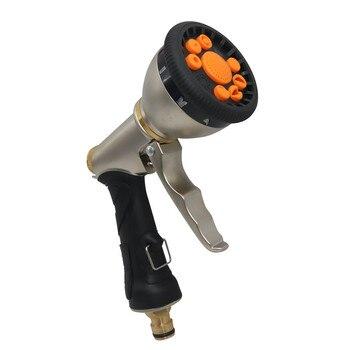 1 Pcs car wash water gun electroplating multi-function high-pressure water gun 9 function front trigger water spray gun gold фото