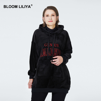 BLOOM LILIYA 2020 New Women Hoodie Double-Sided Gold Velvet Thick Sweatshirt Women Hoodies Long Sleeve Oversize korean Style bike lock chain wire lock anti theft chain lock for bicycle cycling locks steel cable electric bicycle equipment security lock