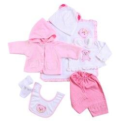 Reborn bébé poupée accessoires rose petit ours modèle vêtements ensemble pour 20-22 poupées