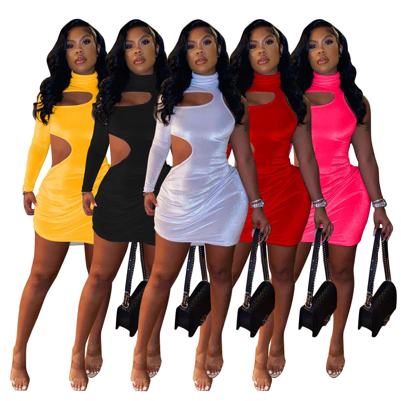 Echoine Frühling One Sleeve Schulter Aushöhlen Sexy Kleider Bodycon Mini Kleid Frauen Party Nacht Vintage Vestidos Clubwear