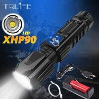 Xlamp XHP90 más Linterna potente XHP70 Tactical Flash Light XHP50 USB Zoom antorcha caza uso 26650 martillo de seguridad