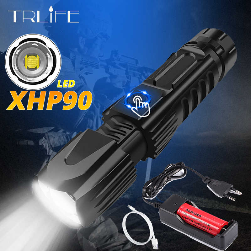 160000LM Xlamp XHP90 Most Powerful Flashlight XHP70 Tactical Flash Light  XHP50 USB Zoom Torch Hunting Use 26650 Safety Hammer