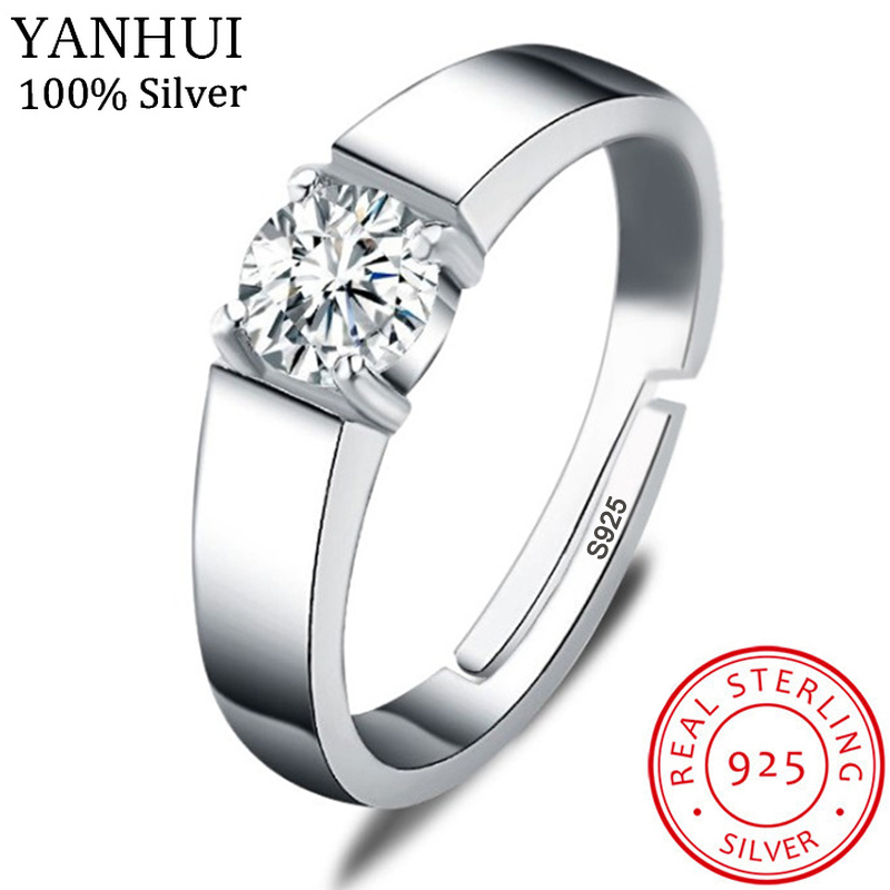YANHUI With Certificate Men 925 Silver Adjustable Rings Simple Solitaire 1ct Zirconia Diamond Engagement Wedding Rings For Men