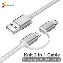 Swalle 2 в 1 вязанный usb кабель micro usb c кабель быстрое зарядное устройство 2A usb кабель для передачи данных для iPhone andriod кабель для мобильного телефона